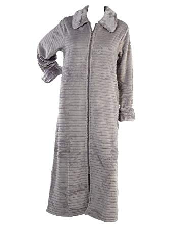 Slenderella Ladies Zip Up Ribbed Style Dressing Gown Womens Faux Fur Collar  Bath Robe XL ( e5e408680