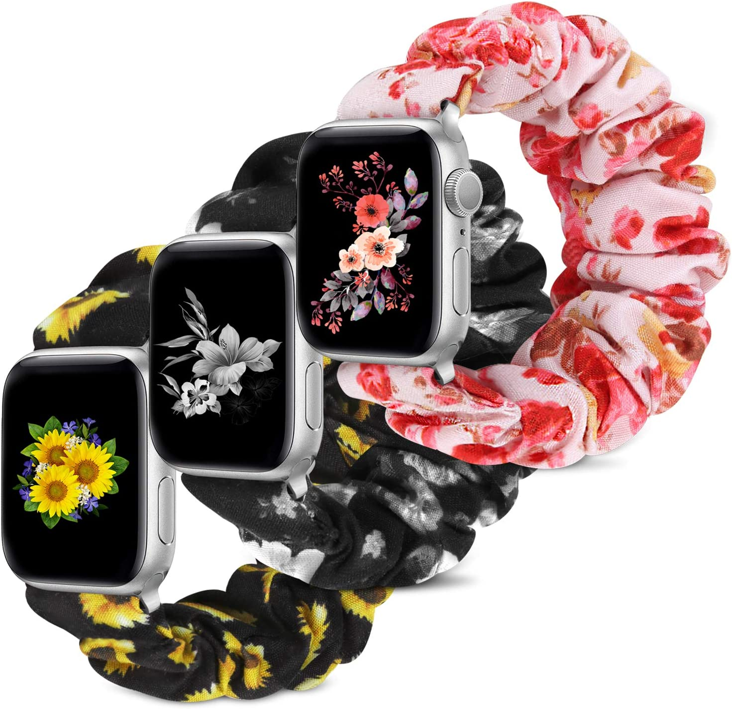 Compatible with Apple Watch Band 38mm 42mm 40mm 44mm iWatch Series 6 SE 5 4 3 2 1 Scrunchie Elastic Watch Band for Apple Watch(Sunflower+Pink Flower+Black Flower)