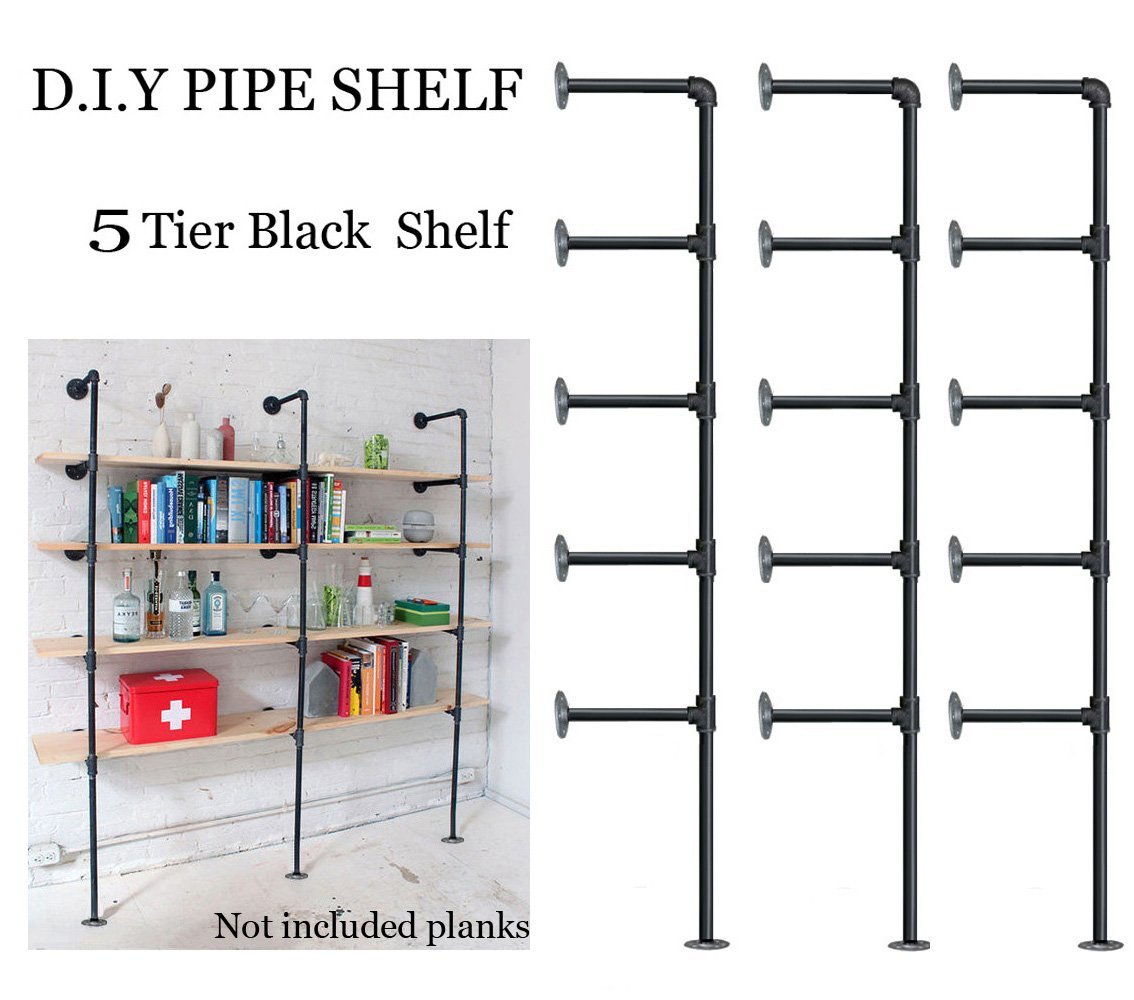 Industrial Retro Wall Mount iron Pipe Shelf,DIY Open Bookshelf,Hung Bracket,Home Improvement Kitchen Shelves,Tool Utility Shelves, Office shelves,Ceiling Mount shelf shelves (3Pcs) by FOF