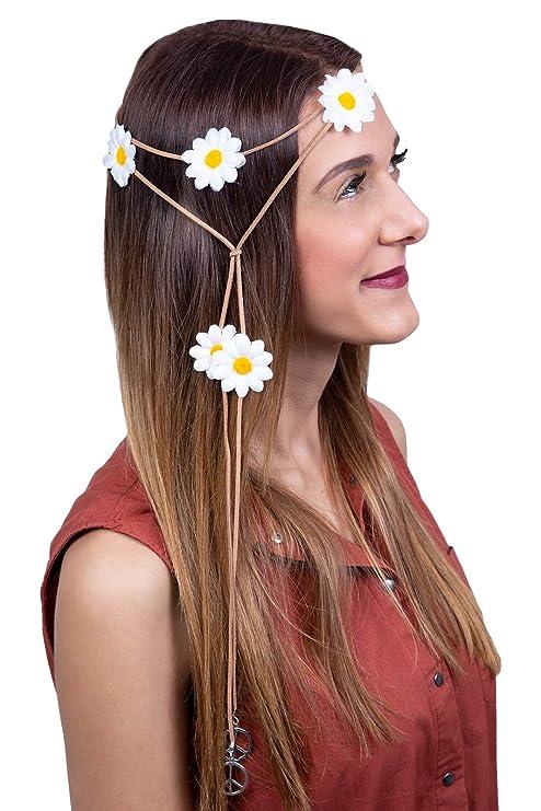 70er Jahre Hippie Stirnband Flower Power Mottoparty Outfit Zubehor Haarschmuck Lederband