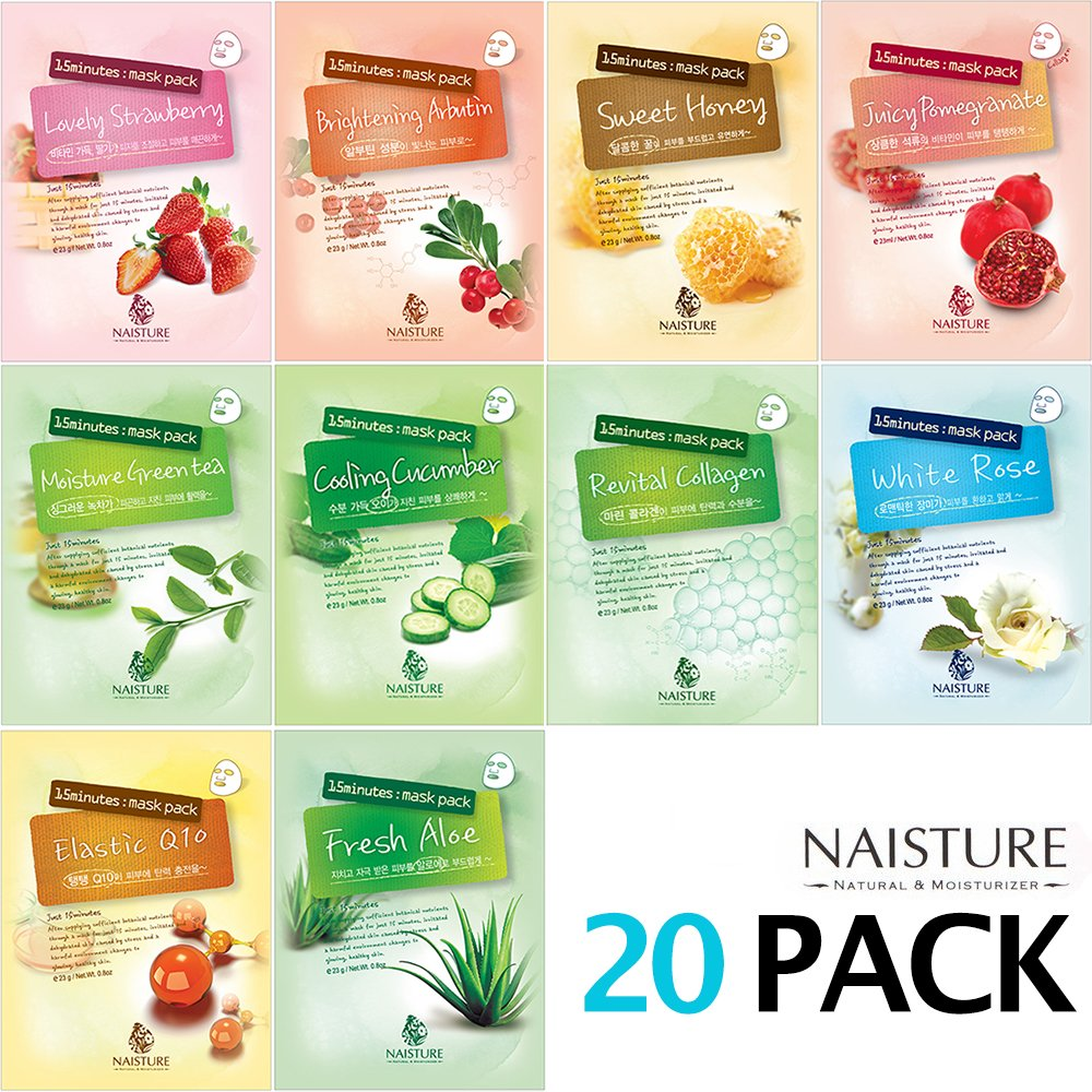 NAISTURE Collagen Facial Mask Sheet Pack - Essence Face Masks with 20 sheets - 15 Minute Application For Hydration - Made in Korea