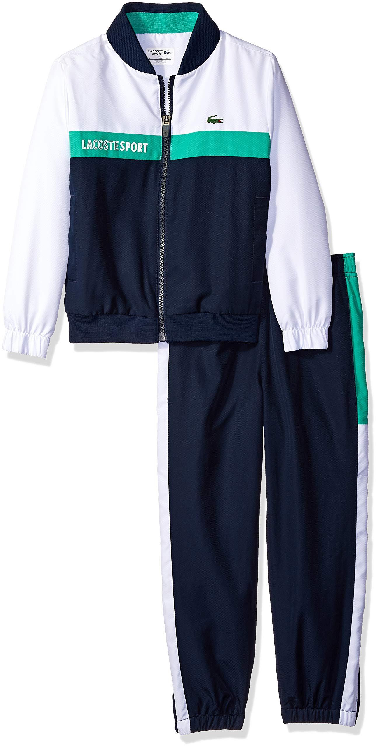Lacoste Little Boy Sport Taffetas Color Block Tracksuits, White/Navy Blue/Papeete 6