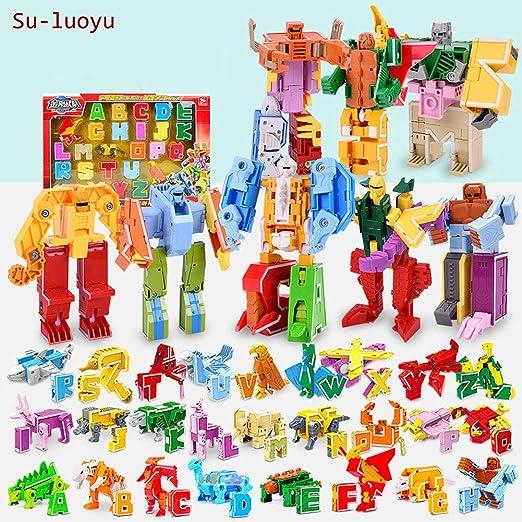 Su-luoyu Juguetes Aprendizaje para Niños 3 A 12 Años Edad Letras Dinosaurios Robot Juguetes Transformer Puzzle Regalos Rompecabezas Deformación Letras ...