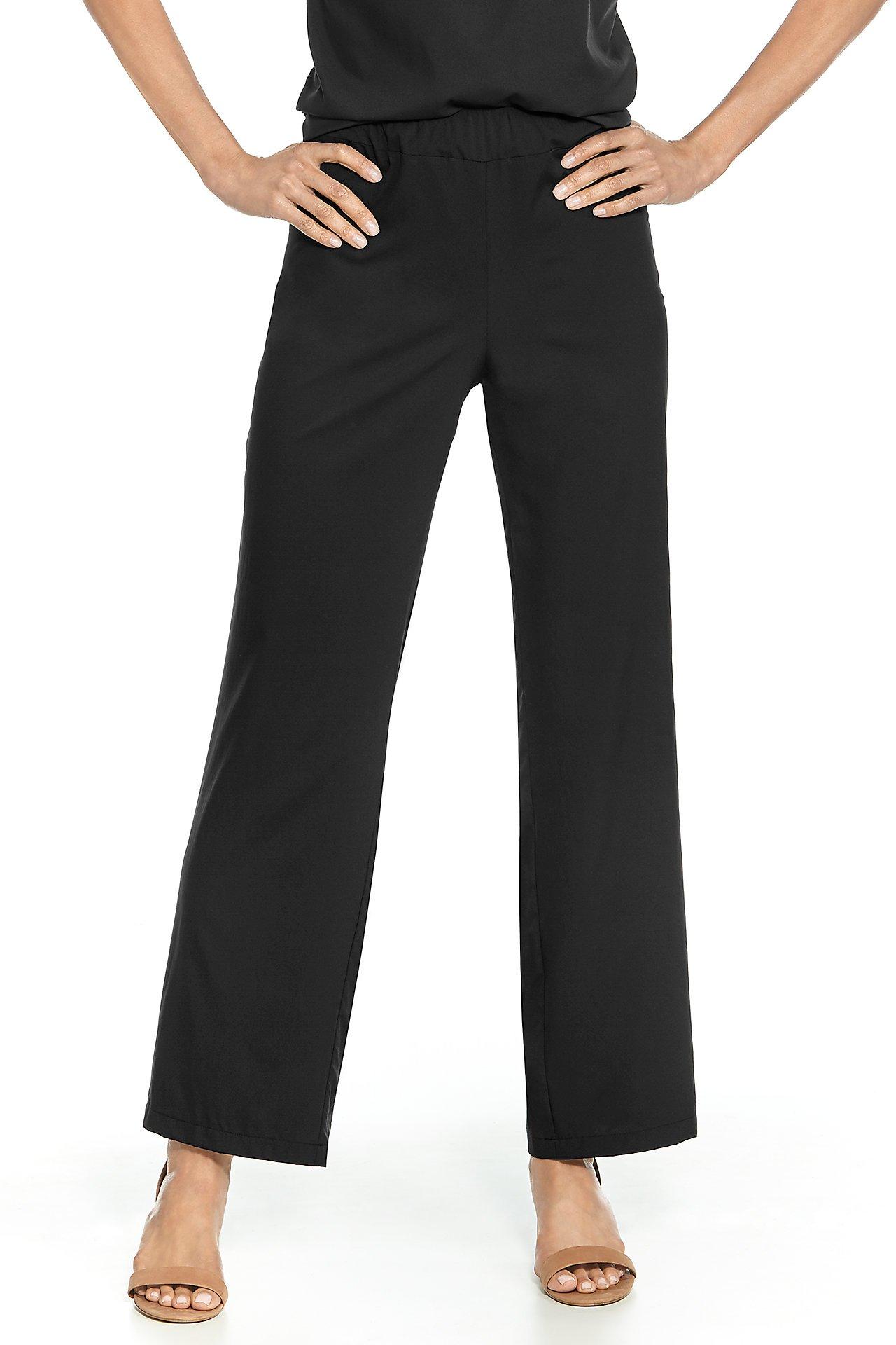 Coolibar UPF 50+ Women's Verona Straight Leg Pant - Sun Protective (Small- Black)