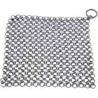 Moligh doll Steel Cleaner Chainmail Cleaning Scrubber with Hanging for Cast Iron Pan,More Pot Cookware-Square 7X7 In
