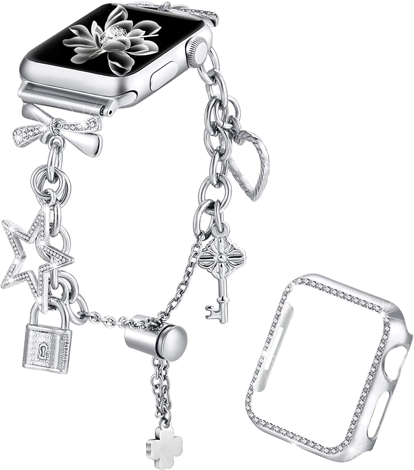 Dilando Bling Bracelet Compatible with Apple Watch Bands Charms 42mm 44mm with Bling Diamond Case Women Metal Strap for Iwatch Series SE 6 5 4 3 2 1 Adjustable Stainless Steel (Silver, 44mm)