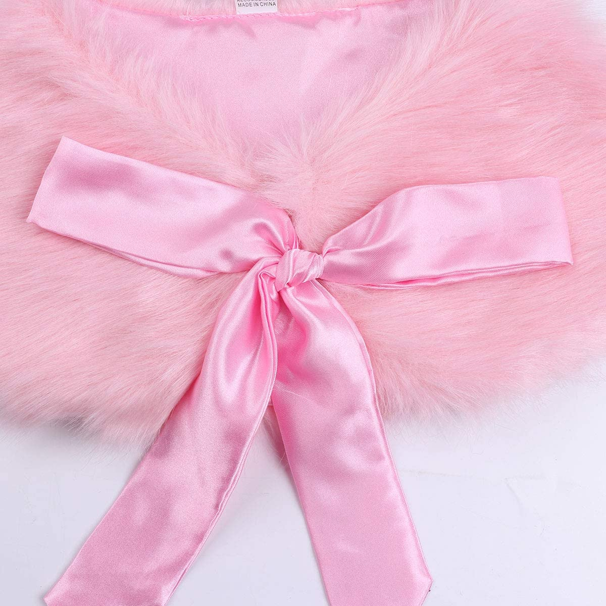 inlzdz Kids Girls Faux Fur Wrap Princess Shawl Tippet Bolero Shrug Shoulder Wedding Party Flower Girl Dress Cover Up Coat Cape