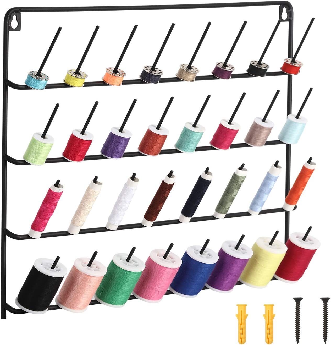 32-Spool Sewing Thread Rack, Wall-Mounted Metal Thread Holder with Hanging Tools for Organize Sewing Thread, Embroidery (Suitable for Large Thread)