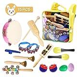 NASUM 15 Pezzi Strumenti Musicali in Legno per Bambini Strumenti a percussione Giocattoli, Design Colorato, Giocattoli Educativi, Gioco, con Borsa