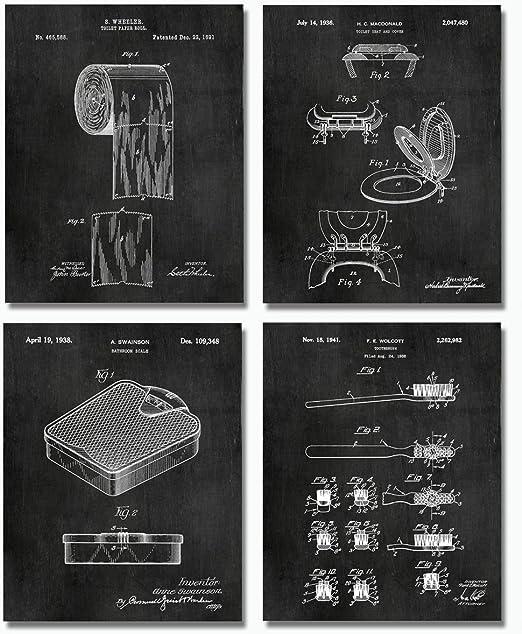 Unframed Toothbrush Patent Print Vintage Poster Wall Art Bathroom Decor Gift