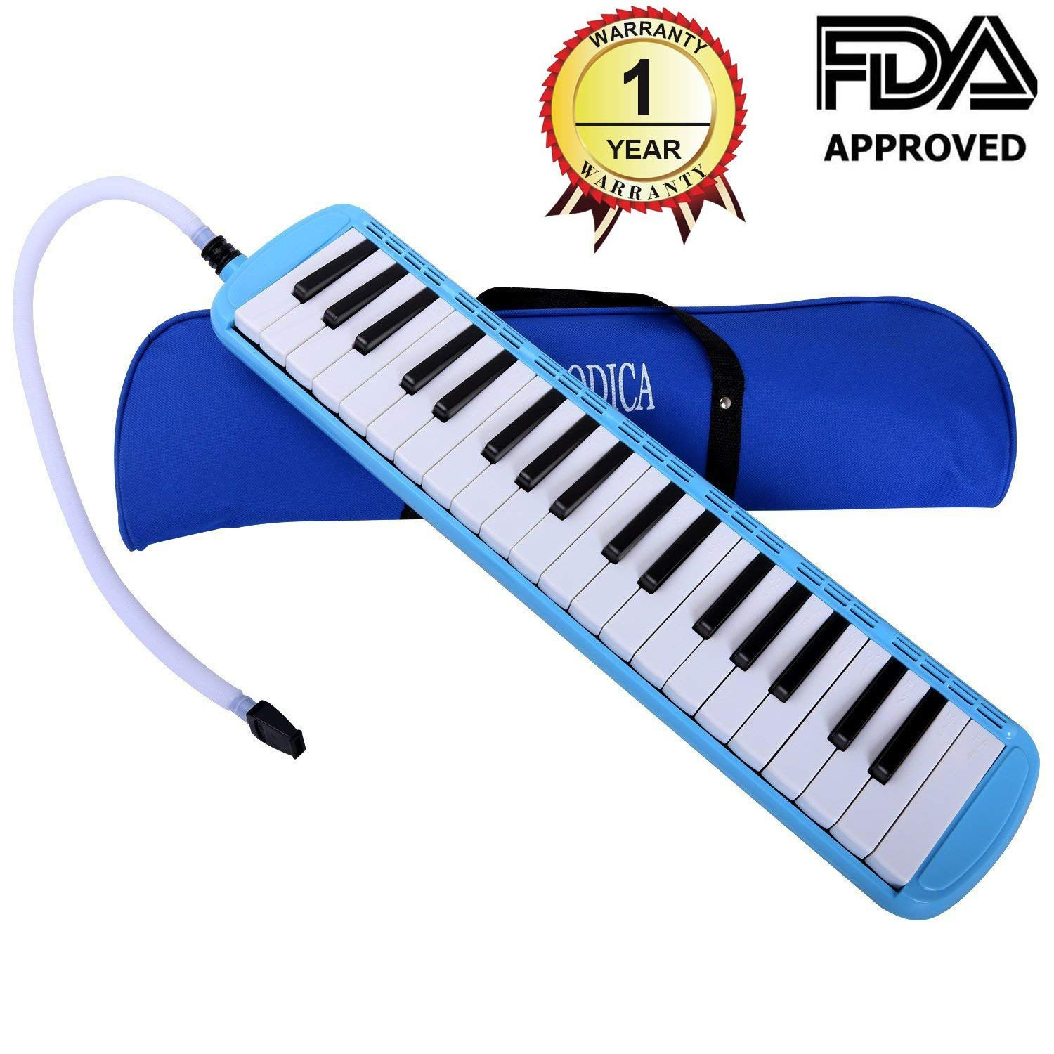 Amazon.com: CAHAYA Melodica 37 Keys Pianica FDA Approved with Long Pipe Short Mouthpiece and Carrying Bag for Children Student Blue: Musical Instruments