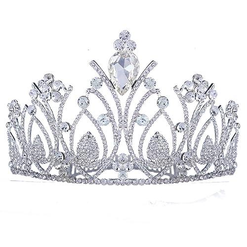 Santfe Crystal Tiara Para Boda Coronas Bañado En Plata Princesa