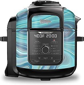 KRAFT'D Wrap for Ninja Foodi 8 Quart - QT Accessories Cover Sticker - Wraps fit Deluxe Cooker Mdl: FD402 LP3 | Aqua Blue Geode Swirl