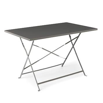 Pims Table de jardin/ terrasse pliante en métal epoxy taupe Gris ...