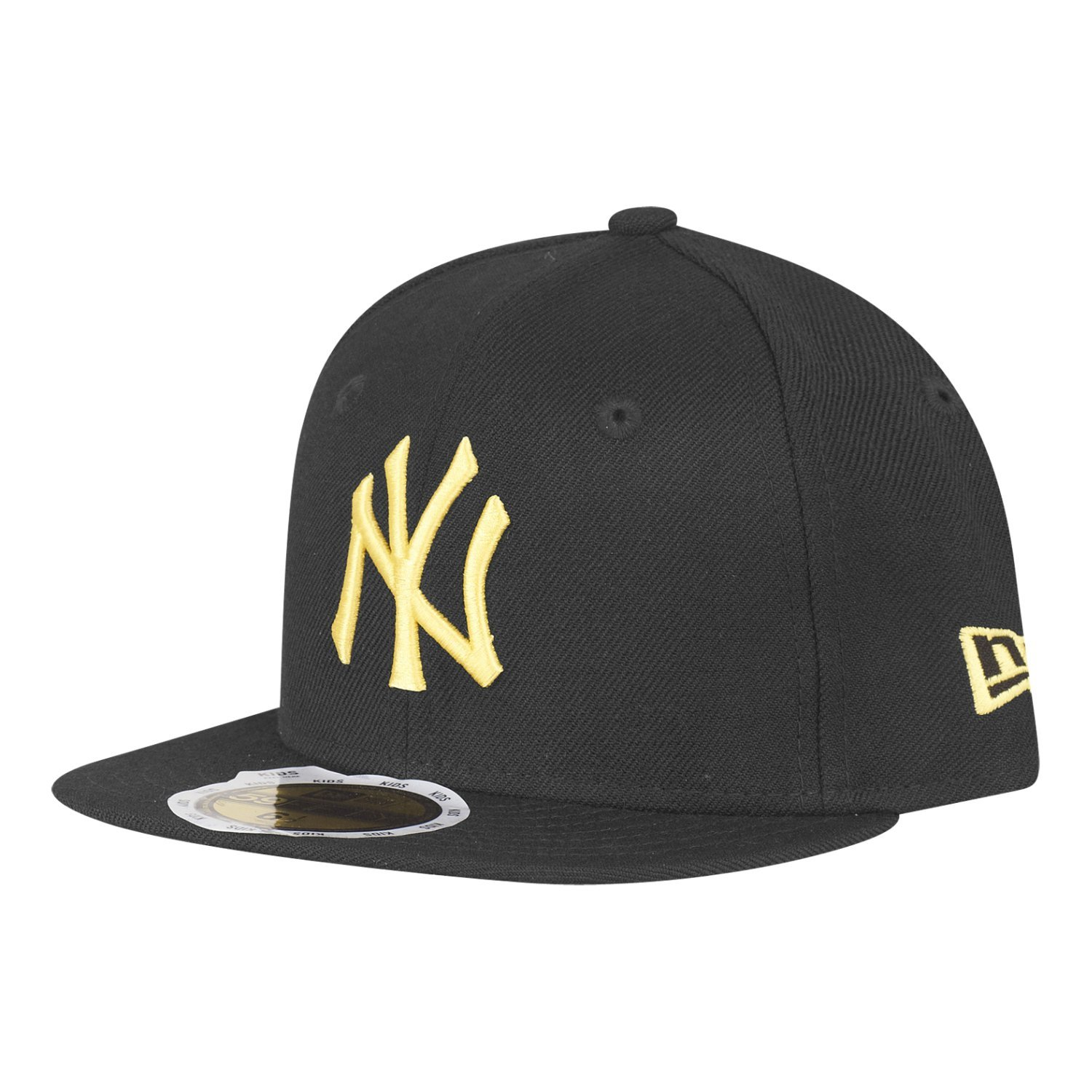 New Era Kids New York Yankees 59Fifty Cap in Black Yellow-Flat  Brim-Perforations  New Era  Amazon.co.uk  Clothing d57e60a2e23
