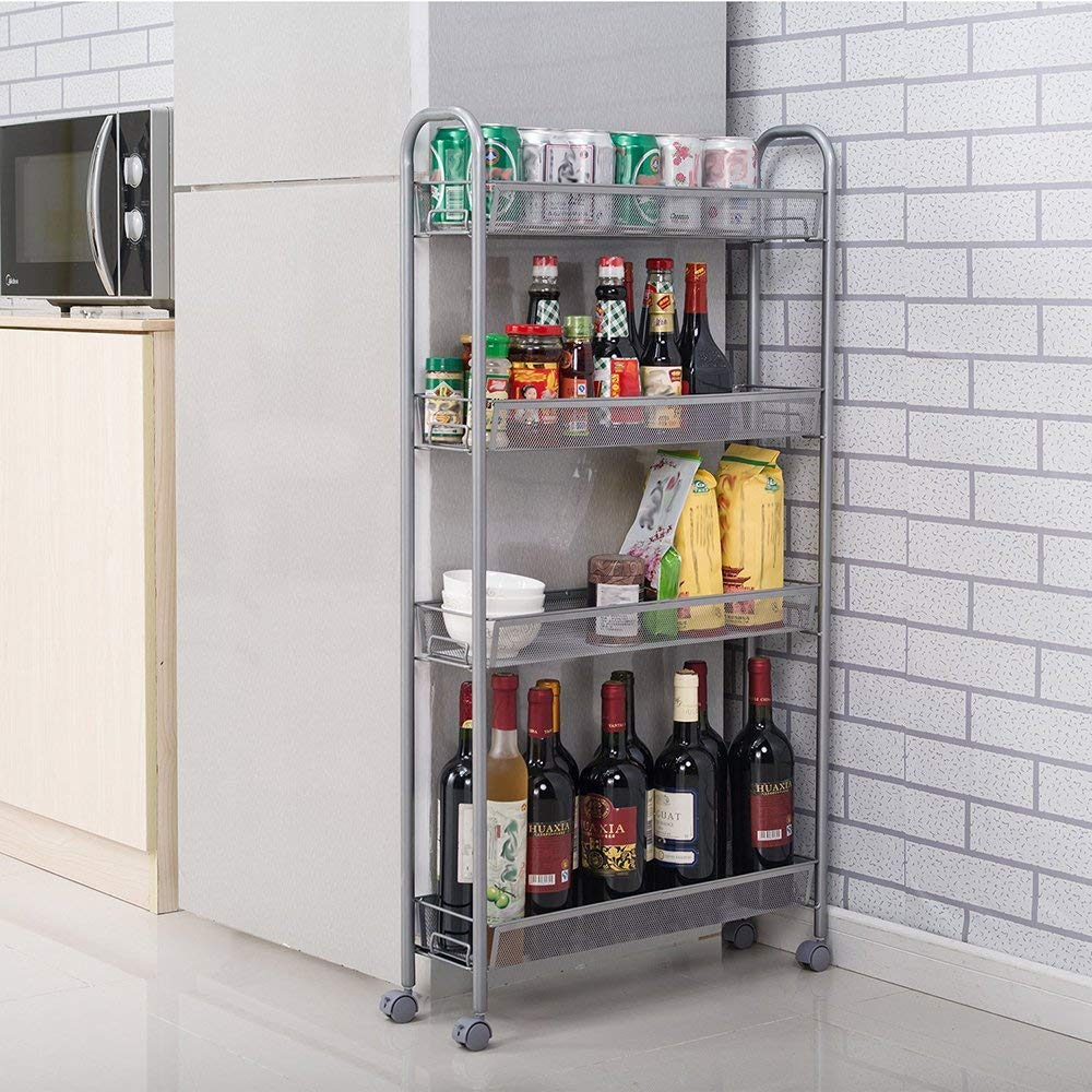 4-Tier Kitchen Slim Slide Out Storage Tower Rack with Wheels Cupboard with Casters Kitchen Storrage Organaizer Cart for Kitchen Bathroom Laundry Room Narrow Places- by KOVALENTHOR