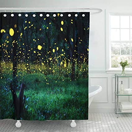 Emvency Fabric Shower Curtain With Hooks Firefly Flying In The Forest Fireflies Bush At Night Prachinburi