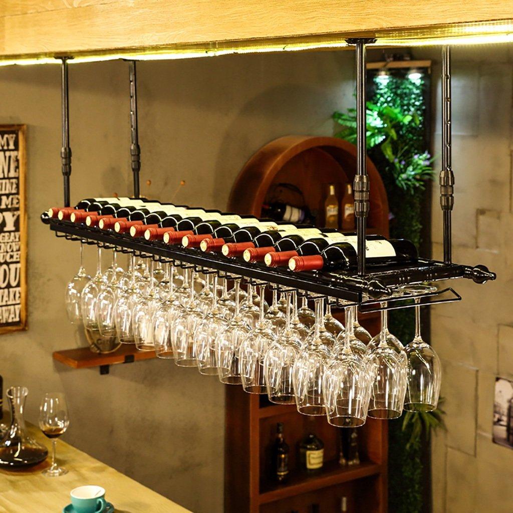 レトロウォールワインラックバーの金属鉄貯蔵シェルフLOFT天井壁取り付け吊りワインシャンパンガラス杯スタムウェアラックワインボトルホルダー (色 : B, サイズ さいず : 80 * 30cm) B07H5Y9N1S 80*30cm B B 80*30cm