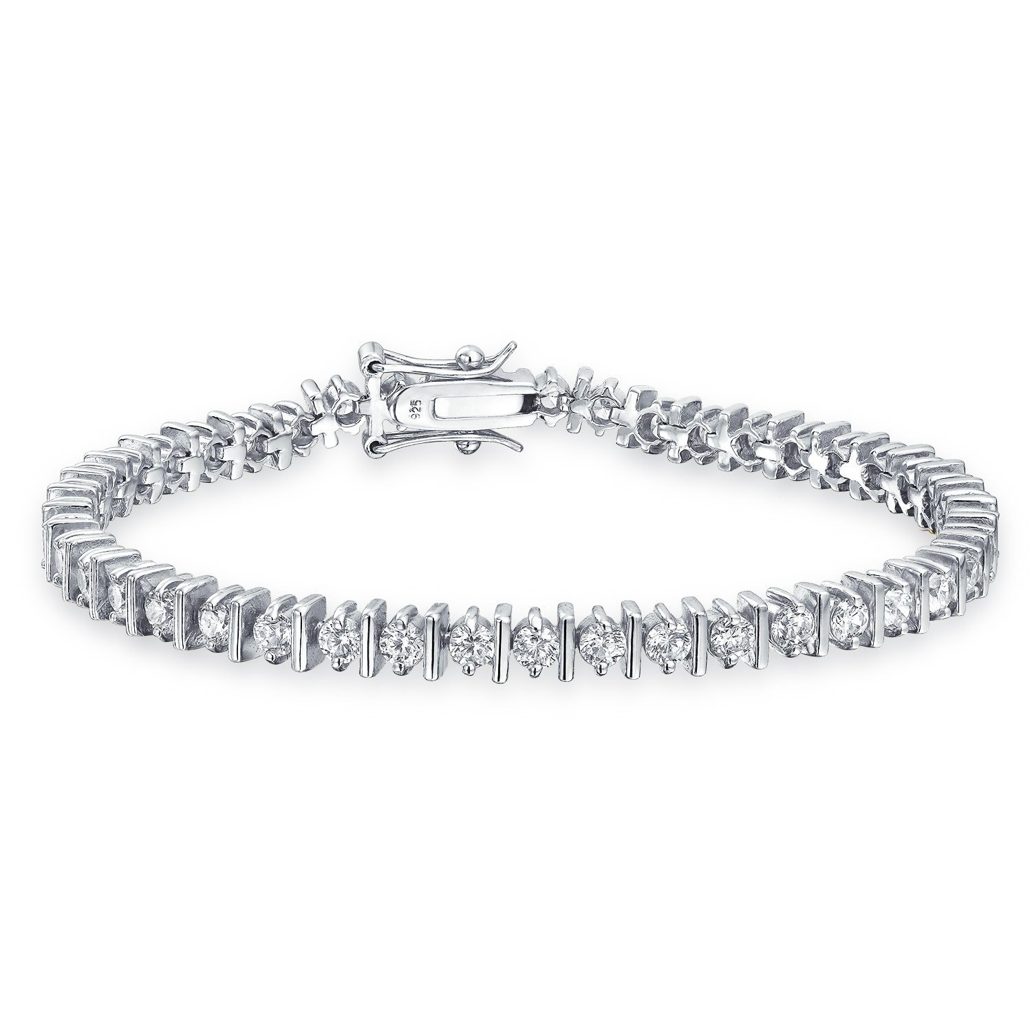 Bling Jewelry Classic Separated CZ Tennis Bracelet 925 Sterling Silver 7in newitem25857628