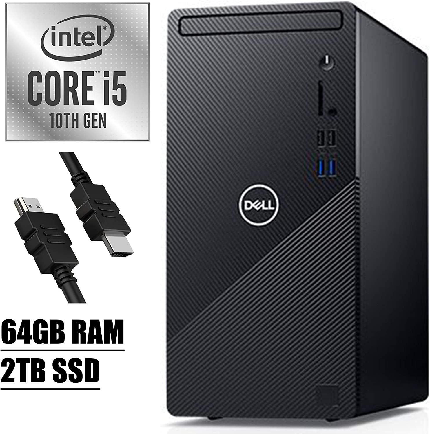 2020 Flagship Dell Inspiron 3000 3880 Desktop Computer 10th Gen Intel Hexa-Core i5-10400 (Beats i7-7700) up to 4.30 GHz 64GB RAM 2TB SSD with Mouse and Keyboard WiFi Win10+iCarpHDMI