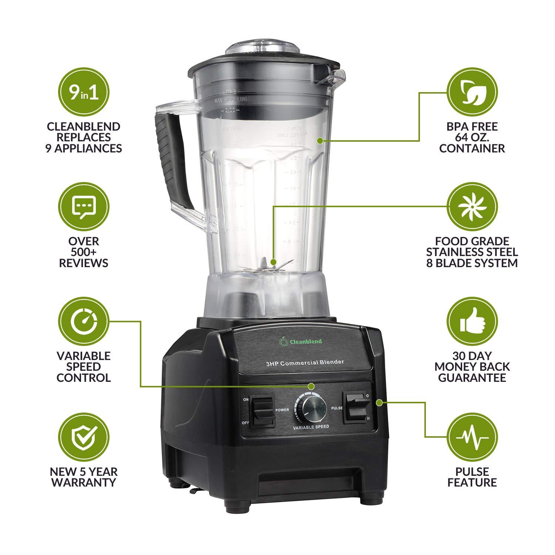 Amazon.com: Licuadora comercial Cleanblend - 3HP - 1800-Watt ...