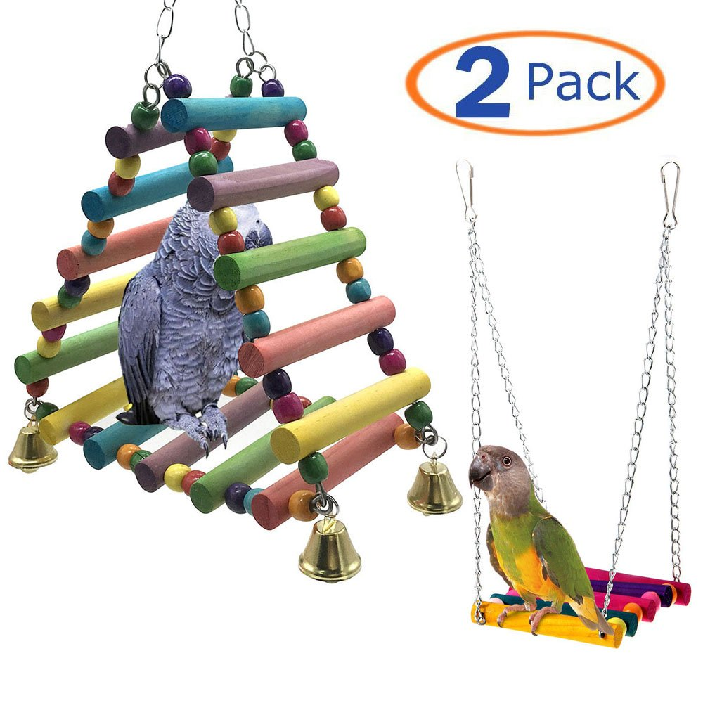 Bird Perch Bird Swing Wooden Bird Toys Pet Bird Cage Hanging Toy for Parrots Macaws Small Parakeets Cockatiels Finches