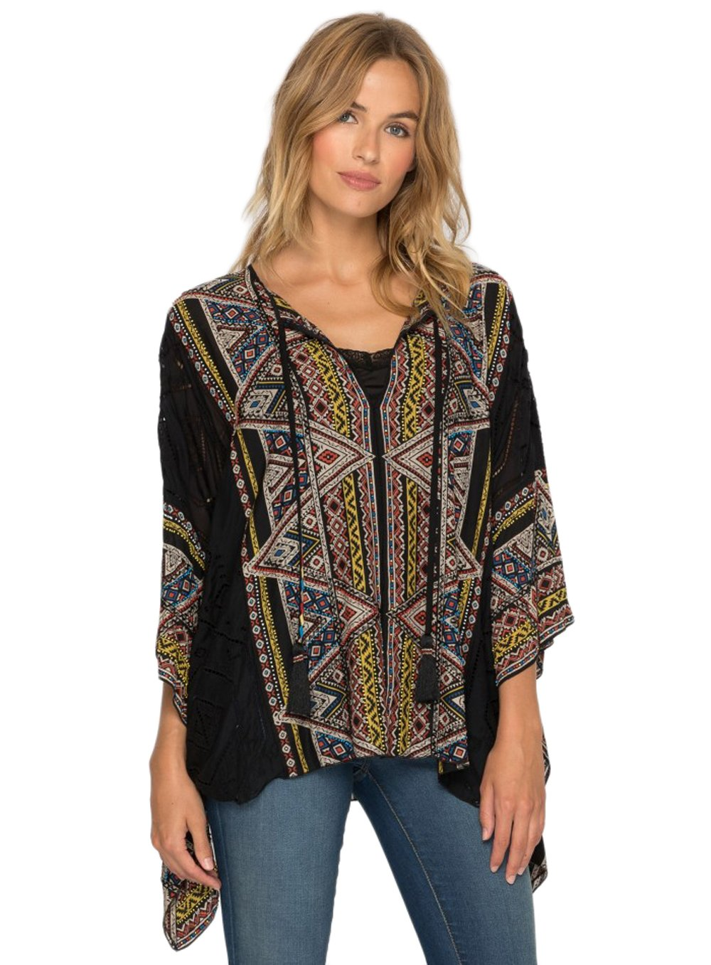 Johnny Was 4 Love and Liberty by Silk Beaded Color Gables Poncho Top (Large)
