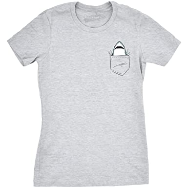 9e8a607facda Womens Pocket Shark Funny T Shirts Printed Graphic Jaws Cool Shark Novelty T  Shirt (Heather