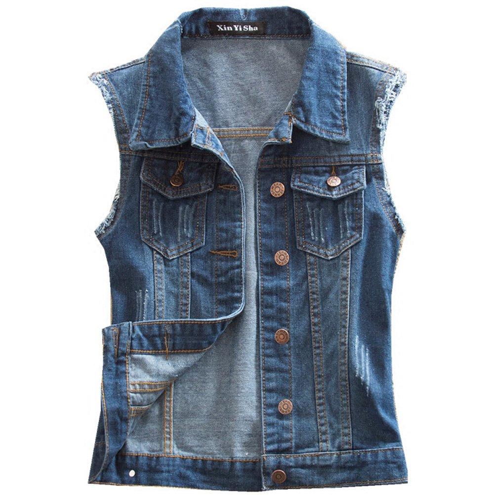 WCHUANG Women's Blue Fit Retro Ripped Jeans Vest Demin Jacket Vest Waistcoat