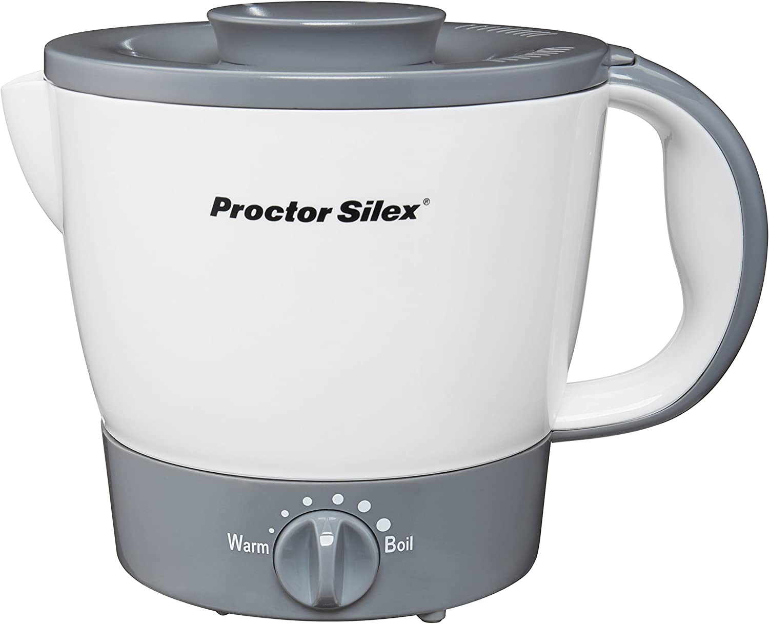 Proctor Silex 32oz Adjustable Temperature Electric Hot Pot for Tea, Boiling Water, Cooking Noodles and Soup, White (48507)