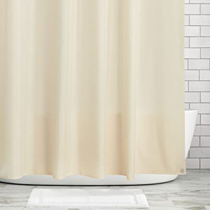 MDesign Mildew Resistant Water Repellent Fabric Shower Curtain Liner With Weighted Magnetic Hem