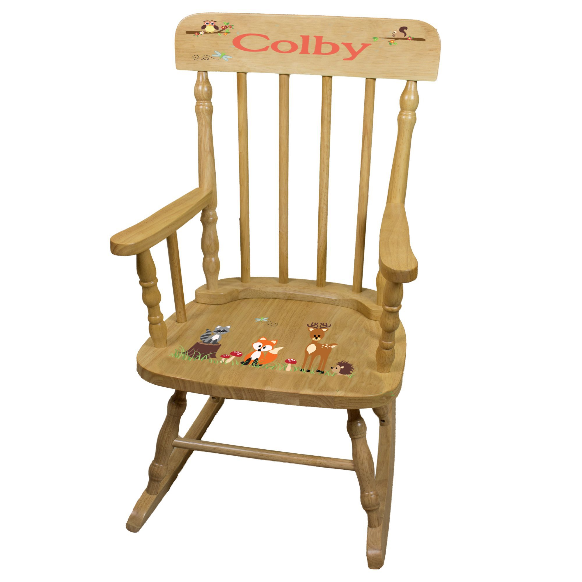 Personalized Coral Forest Animals Wooden Childrens Rocking Chair