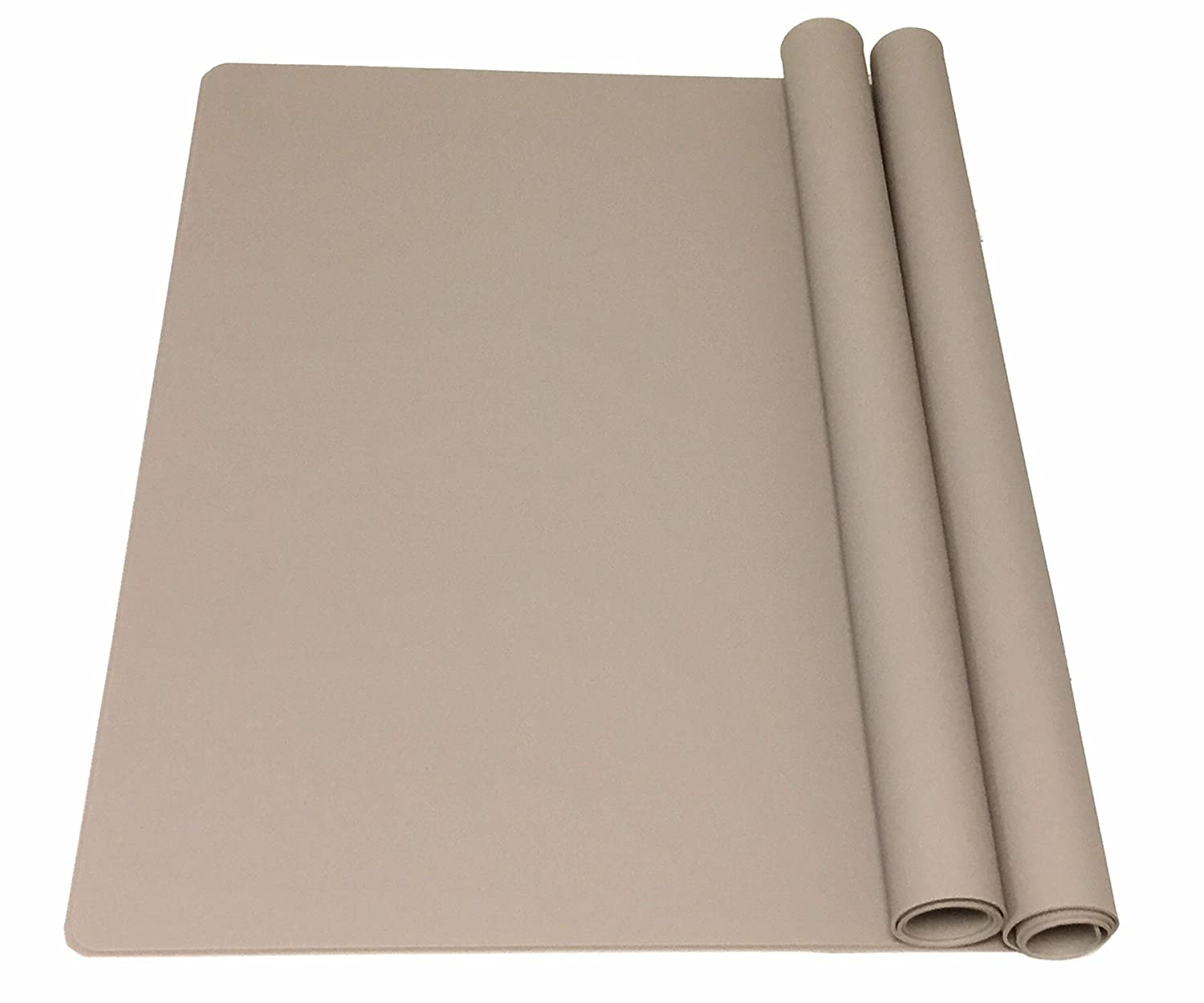 EPHome 2Pack Extra Large Multipurpose Silicone Nonstick Pastry Mat, Heat Resistant Nonskid Table Mat, Countertop Protector, 23.6''15.75'' (Taupe)
