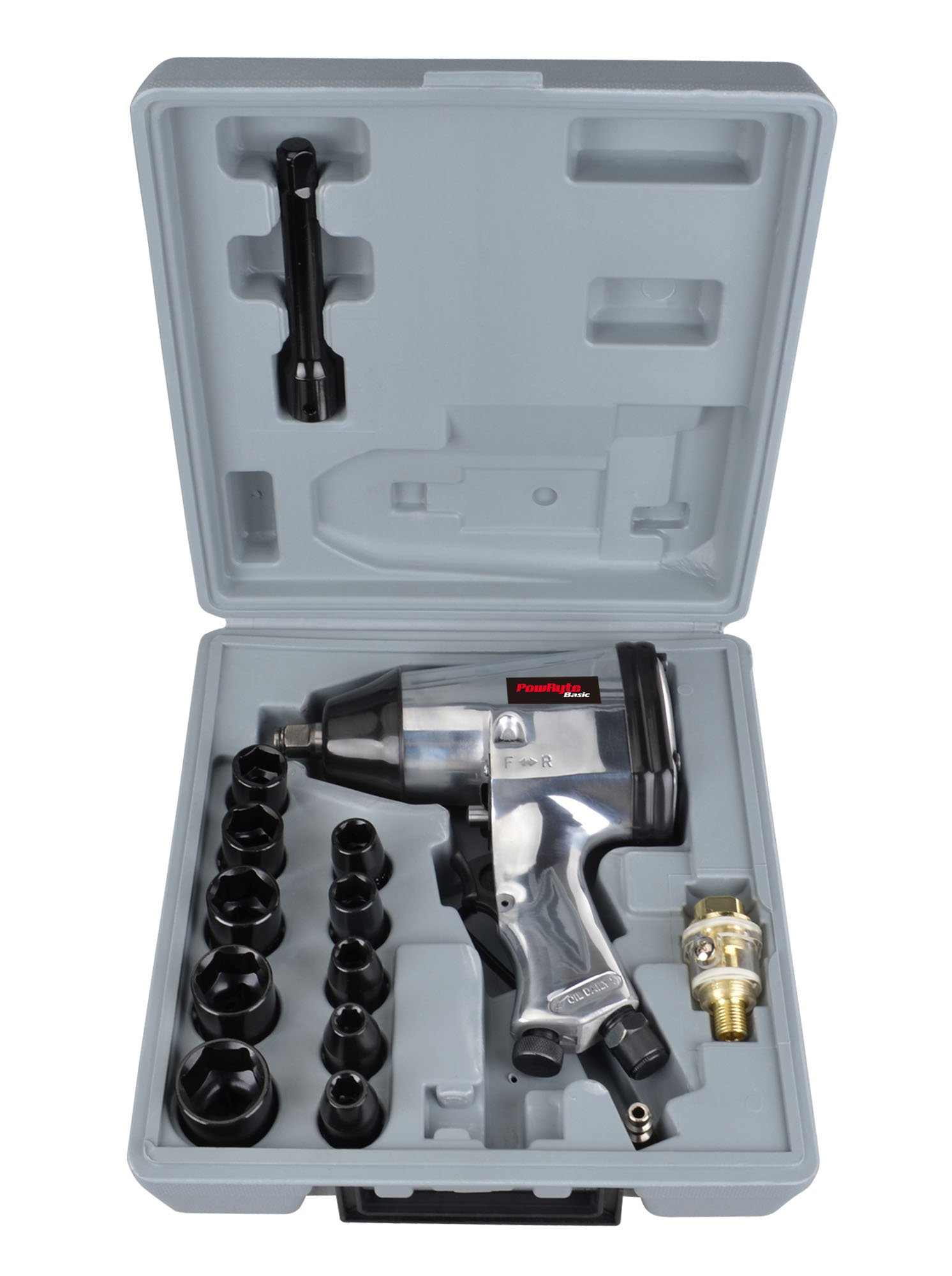 PowRyte 17pcs 1/2-Inch Air Impact Wrench Set with Impact Sockets and Blow Mold Case by PowRyte (Image #2)