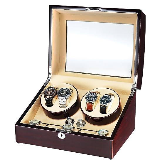 aublan Quad Automático de 4 + 5 relojes, caja de madera para 9 relojes: Amazon.es: Relojes