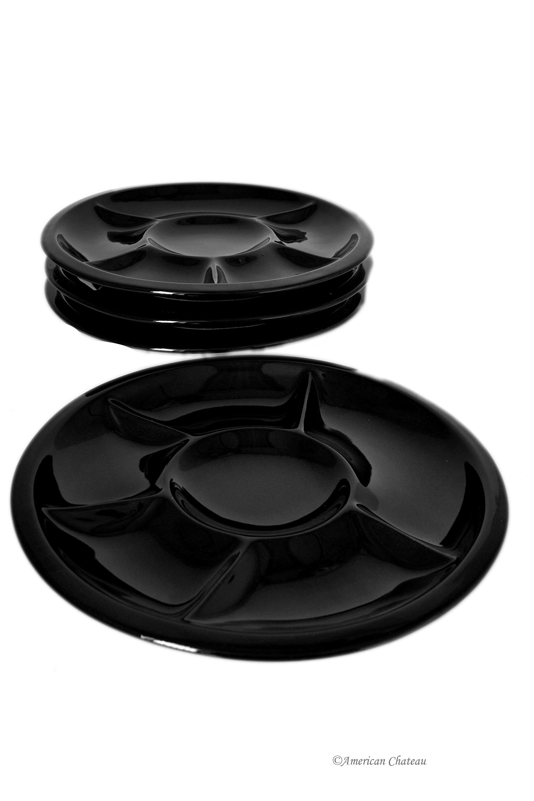 Set of 12 Divided Black Porcelain Fondue/Sushi/Buffet Plates