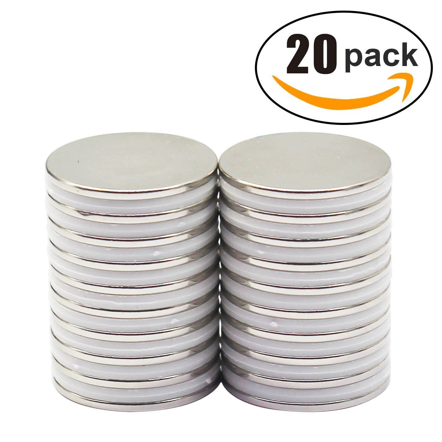 Strong Neodymium Disc Magnets 20 Pack For Kitchen, Office, Garage, Home, Workplace, 1.26''D x 0.08''H