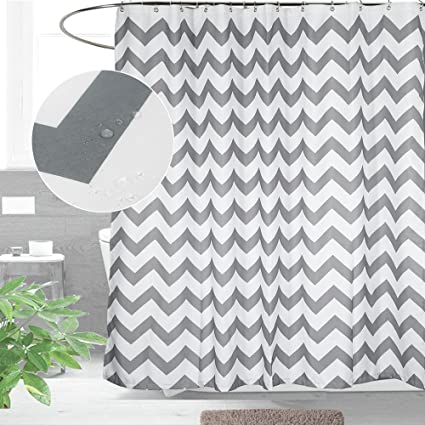 grey chevron shower curtains. CAROMIO Fabric Shower Curtain, Water Repellent Grey And White Striped Chevron  Curtain For Bathroom Grey Chevron Shower Curtains
