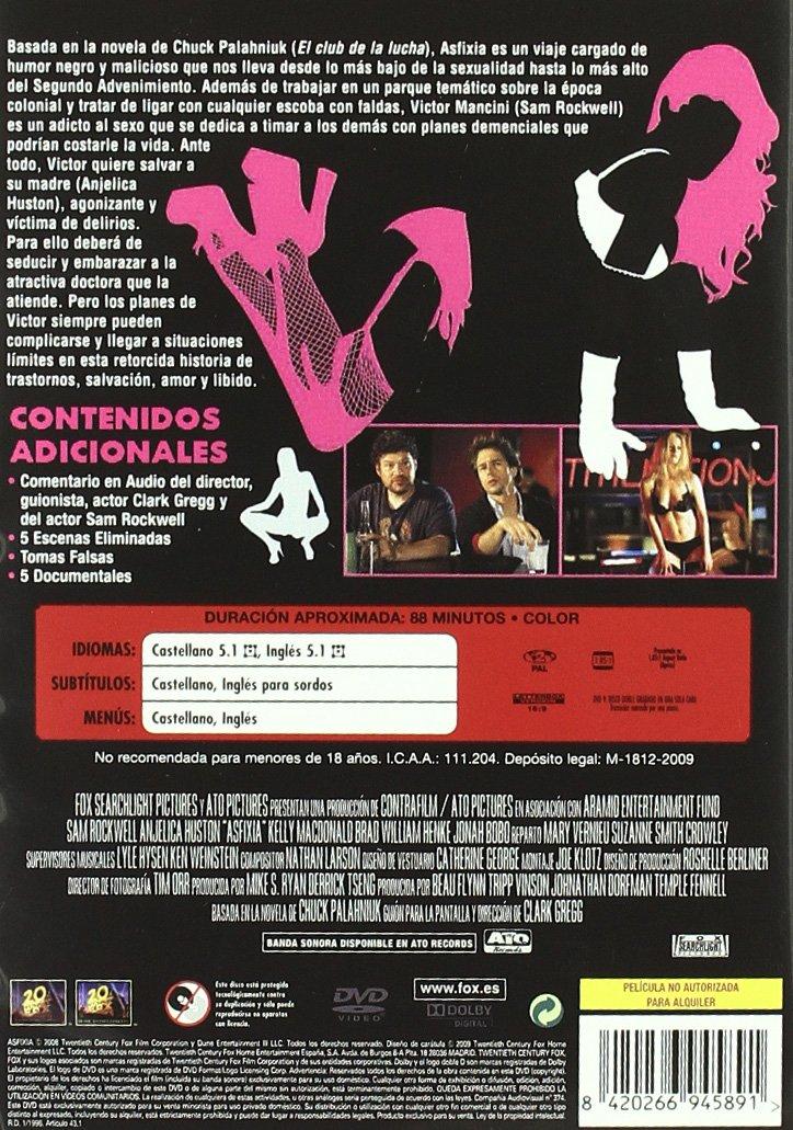 Asfixia [DVD]: Amazon.es: Sam Rockwell, Kelly Macdonald, Brad William Henke, Anjelica Huston, Clark Gregg: Cine y Series TV