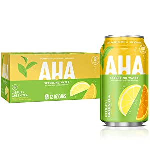 Aha Sparkling Water (Citrus + Green Tea), 12 Fl Oz (Pack Of 8)