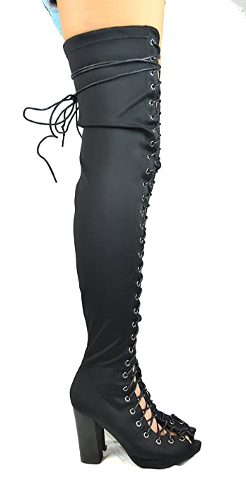 Chase & Chloe Emelia Lycra Lace-Up Thigh-High Boot 4OAcUAJv