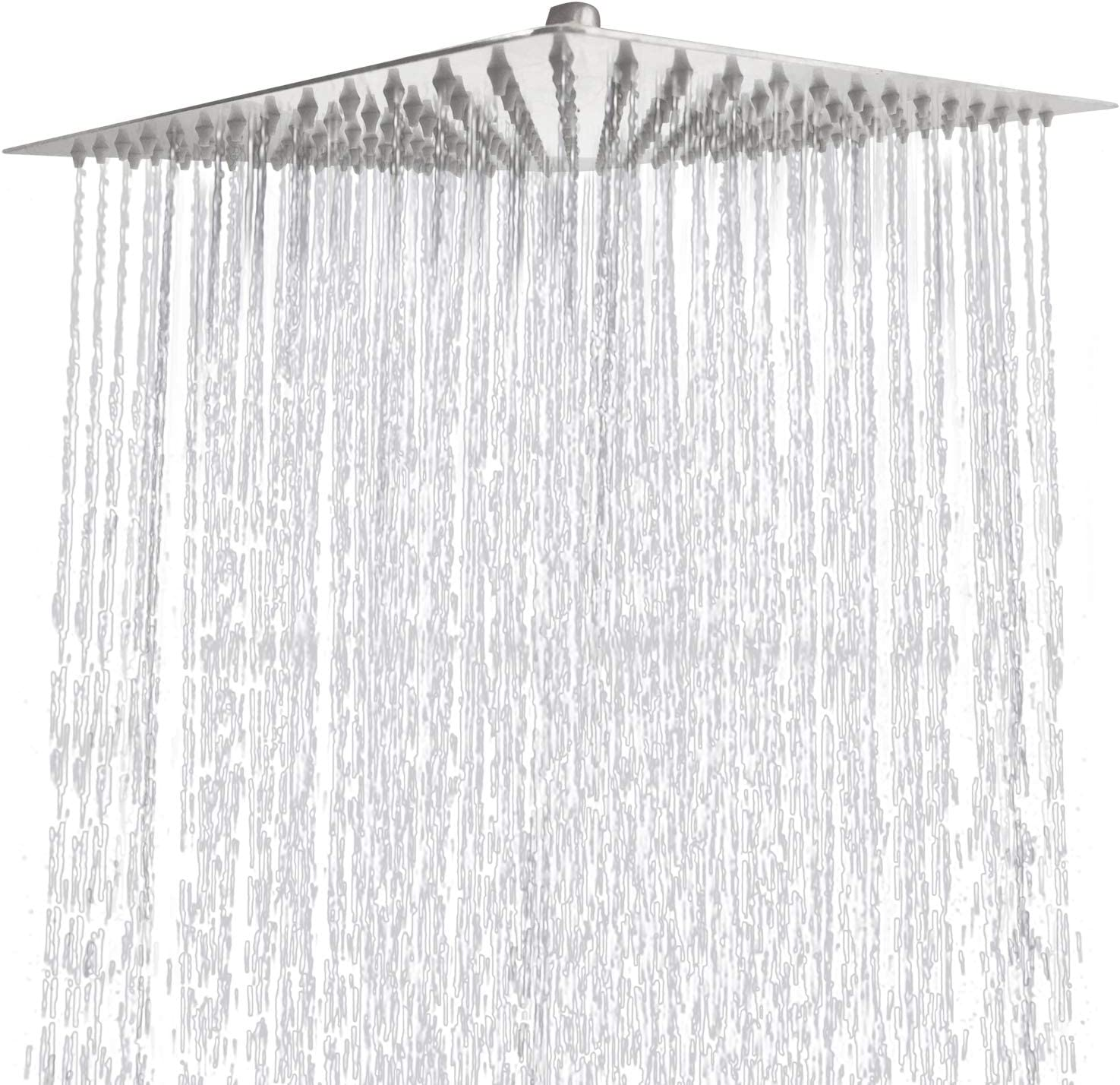 Square Ultra Thin Stainless Steel Brushed Nickel 12 Inch Rain Shower Head