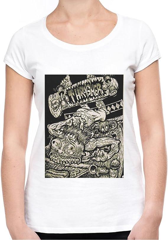 Skate Punk Trasher Vintage Looking Camiseta Mujeres - Large ...