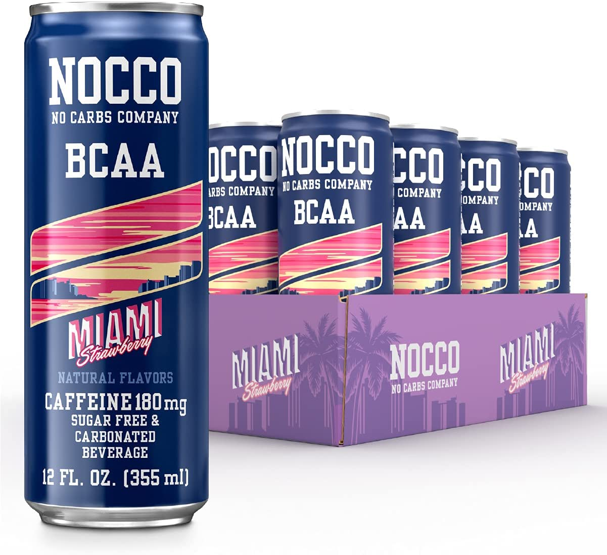 NOCCO - BCAA Sugar Free Energy Drink - 12 Low Calorie, Pre Workout Beverages - Refreshingly Carbonated, Great Tasting Energy Drinks with 180 mg Caffeine (Miami, 12-Pack)