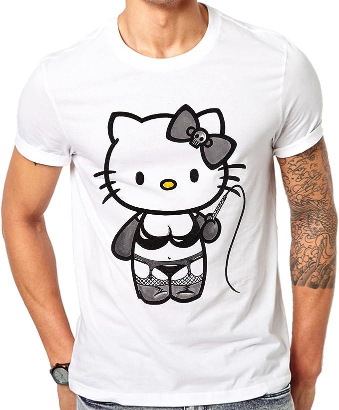 Hello Kitty Strap On Logo-Camiseta de manga corta para hombre blanco small: Amazon.es: Ropa y accesorios