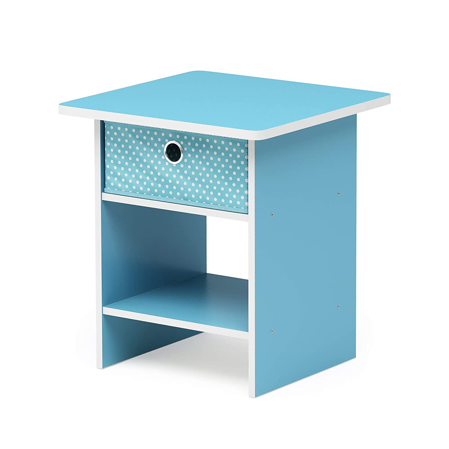 FURINNO Dario End Table/Night Stand Storage Shelf, 1-Pack, Light Blue/Light Blue