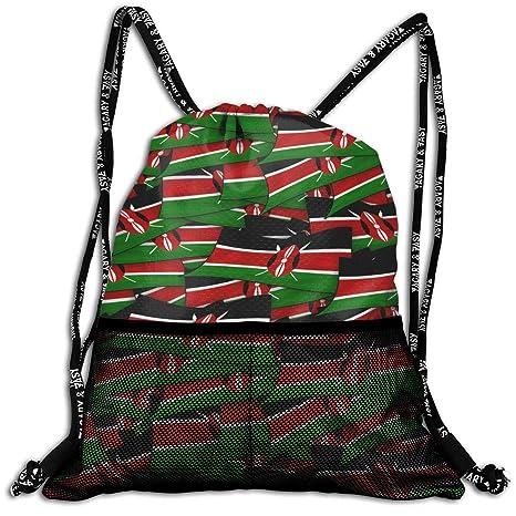 75d151ed4e89 Amazon.com | Kenya Flag Wave Collage Drawstring Backpack Bags Sport ...