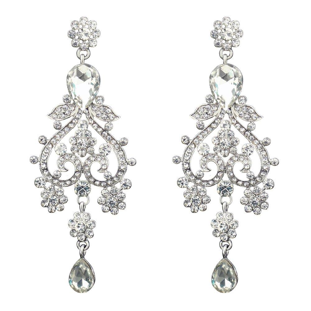 Silver-plated Crystal Teardrop Earrings Wedding Piercing Dangle Chandelier Earrings for Women(Style 6)