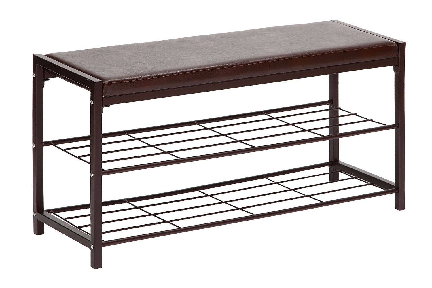 Storagemaniac 2 Tier Shoe Rack Bench With Faux Leather Seat Entryway Shoe Storage
