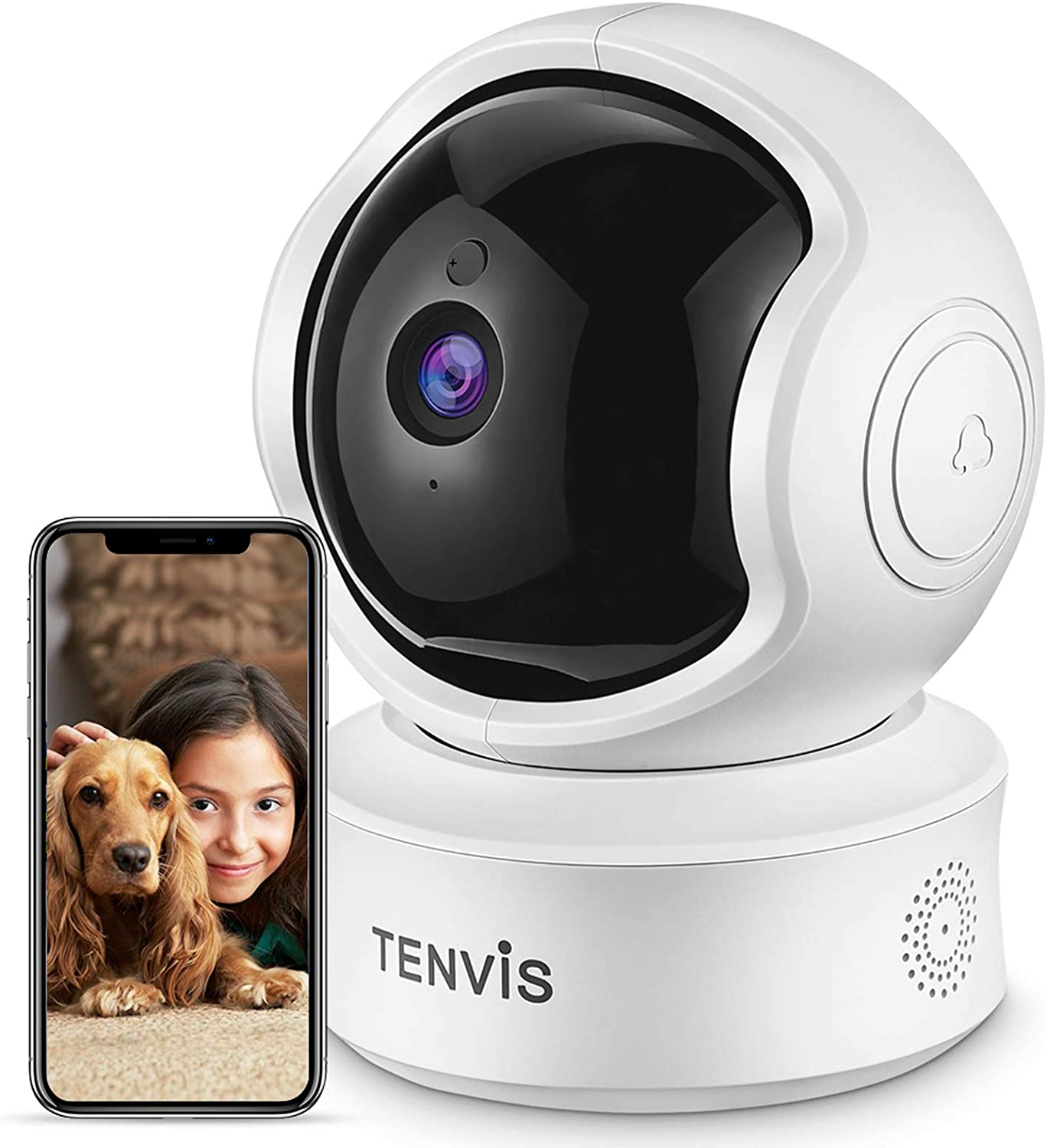2K 3MP Indoor Security Camera - TENVIS Pet Camera Two Way Audio, Sound/AI Motion Detection&Auto Tracking, Home WiFi Camera Pan/Tilt Baby Monitor Camera, Night Vision, Cloud Storage, Works with Alexa